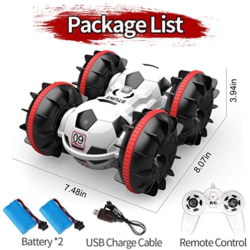 518nmfktizL. AC  - BeeBean Amphibious Remote Control Car,2.4Ghz 4WD All Terrain Football RC Boat,360 Degree Spins and Flips Off Road Waterproof Vehicle with 2 Rechargeable Batteries,Pool Toys Gift for Adults and Kids