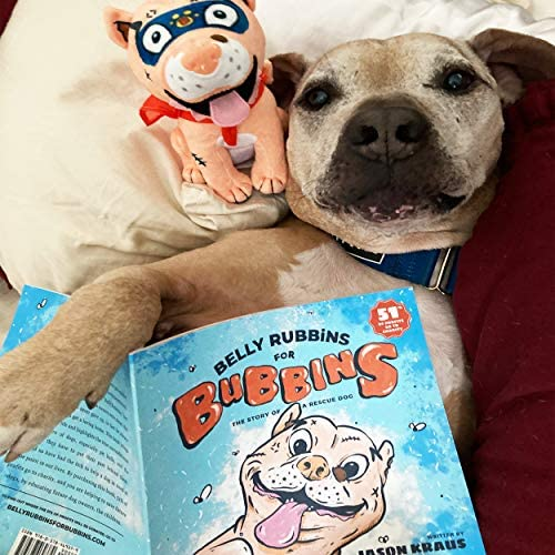 518ns1moTML. AC  - Belly Rubbins for Bubbins Storybook & Plush Toy Set - 2 Children's Picture Books, Coloring Book with Crayons, Pit Bull Plushie, Storage Bag - Stories About Rescue Dog Adoption - Gifts for Kids Ages 3+