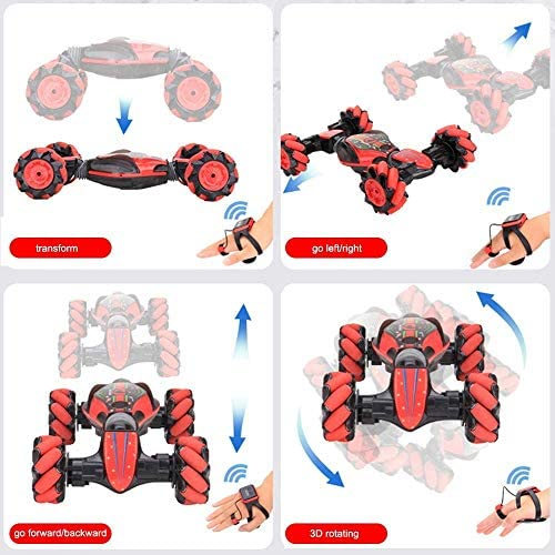 519ivU8jb3L. AC  - GoolRC RC Stunt Car, 4WD 2.4GHz Remote Control Car, Deformable All-Terrain Off Road Car, 360 Degree Flips Double Sided Rotating Race Car with Gesture Sensor Watch Lights Music for Kids (Blue)