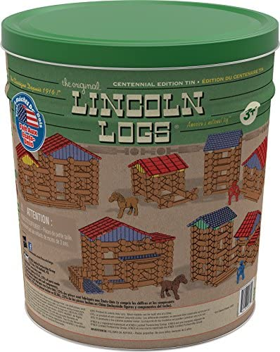519jn18VbNL. AC  - Lincoln Logs Centennial Edition Tin Amazon Exclusive-150+ Pieces-Real Wood-Ages 3+-Best Retro Building Gift Set for Boys/Girls-Creative Construction Engineering-Top Blocks Kit-Preschool Education Toy