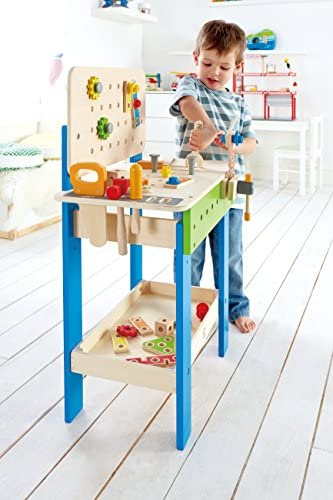 519pXaEYX7L. AC  - Master Workbench by Hape | Award Winning Kid's Wooden Tool Bench Toy Pretend Play Creative Building Set, Height Adjustable 35Piece Workshop for Toddlers