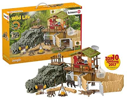 51AS5xuqyKL. AC  - Schleich Wild Life Crocodile Jungle Research Station with Jungle Animals 69-piece Playset for Kids Ages 3-8
