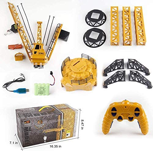 51BIvVEPjAL. AC  - Mini Tudou RC Crane Toy,50.4 inch Tall 2.4GHz Remote Control Robotic Excavator,Educational Construction Vehicles Toy for Ages 6,7,8,9 Boys or Girls