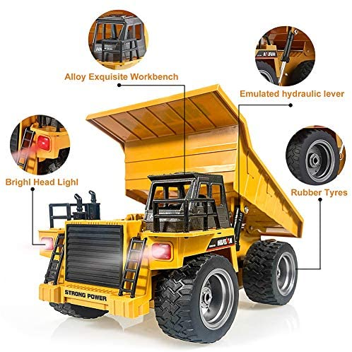 51C4JkAhHSL. AC  - Remote Control Construction Dump Truck Toy 2.4G RC Truck 6 Channel Bulldozer 4 Wheel Driver Mine Construction Alloy Metal Vehicle Truck 1:18 with 2 Rechargeable Batteries for Boys Birthday Xmas Gift