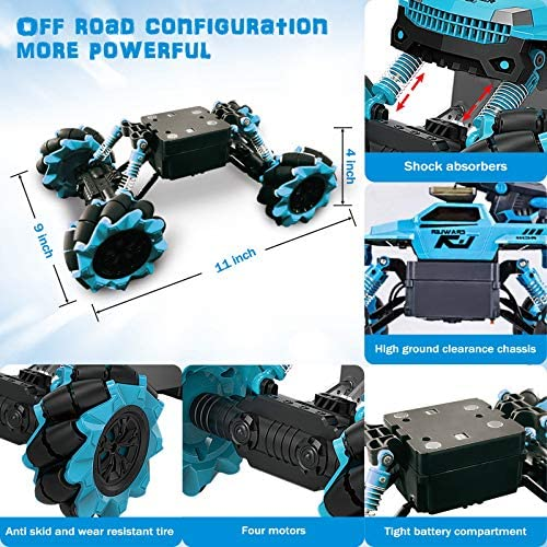 51D1BgMfyzL. AC  - Remote Control Car for Kids 1:14 Scale 2.4GHz RC Cars 4WD All Terrain Off Road Monster Truck 3 Modes Transformation Radio Crawler, Water Cannon, Bubble Machine, for 4-12 Year Old Boys & Girls