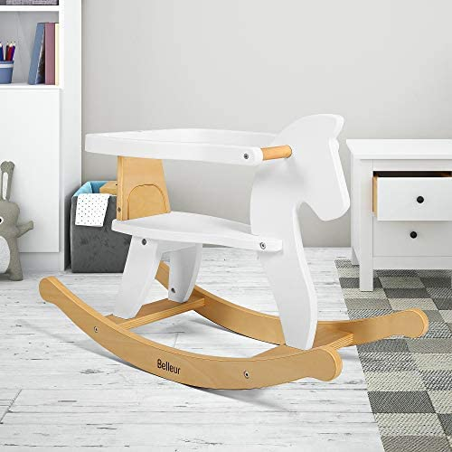 51D8Xb9N1hL. AC  - Belleur Wooden Rocking Horse for Baby, Toddler Wood Ride-on Toys for 1-3 Year Old, Boys & Girls Rocking Animal for Indoor & Outdoor Activities, Birthday White