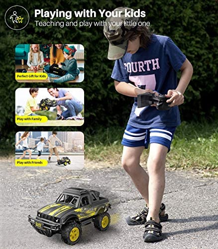 51FR3VXg8TL. AC  - Remote Control Jeep Dodoeleph 4X4 1:16 Large Off-Road Monster RC Trucks, 70Min Play 2.4GHz All Terrain Rock Cralwer with LED Light, High Speed Electric Vehicle Car Toy for Boys Kids