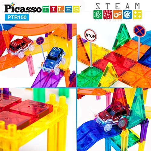 51FbuamyuUL. AC  - PicassoTiles 150 Piece Race Car Track Building Block Educational Toy Set Magnet Tile Magnetic Blocks Playset 4 Cars Early STEM Learning Construction Kit Hand-Eye Fine Motor Skill Brain Training PTR150