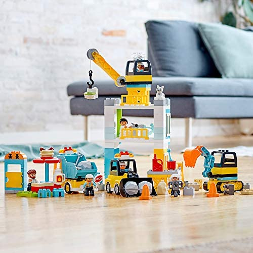 51H4LrfzrPL. AC  - LEGO DUPLO Construction Tower Crane & Construction 10933 Exclusive Creative Building Playset with Toy Vehicles; Build Fine Motor, Social and Emotional Skills; Gift for Toddlers, New 2020 (123 Pieces)