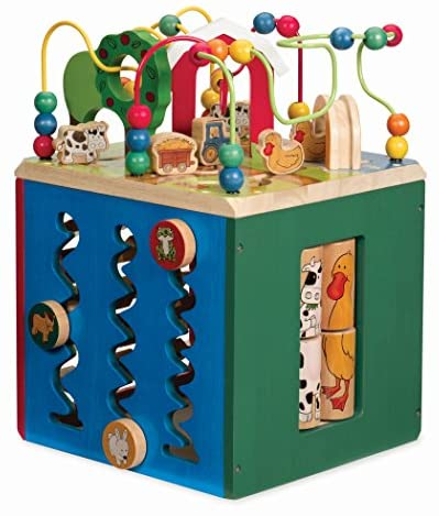 51HxbdL58kL. AC  - Battat – Wooden Activity Cube – Discover Farm Animals Activity Center for Kids 1 year +