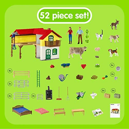 51I3aKepJeL. AC  - Schleich Farm World Large Toy Barn and Farm Animals 52-piece Playset for Toddlers and Kids Ages 3-8 Multi, 19.3 Inch