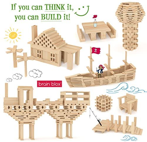 51IBw UTPvL. AC  - Brain Blox Wooden Building Blocks for Kids - Building Planks Set, STEM Toy for Boys and Girls (300 Pieces)