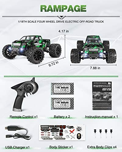 51ICBqotFRL. AC  - HAIBOXING 1:18 Scale All Terrain RC Car 18859E, 36 KPH High Speed 4WD Electric Vehicle with 2.4 GHz Remote Control, 4X4 Waterproof Off-Road Truck with Two Rechargeable Batteries