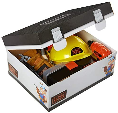51IK76yFhGL. AC  - BLACK+DECKER Construction Dress Up Trunk for Kids with Fabric Role Play Costume Accessories, Realistic Toy Tools & Portable Kid-Sized Tool Box – 22 Piece Included (Amazon Exclusive)