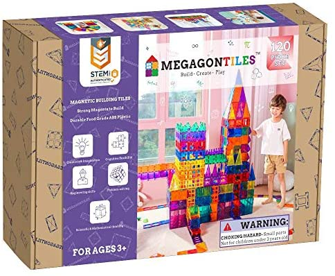 51IK8XnBycL. AC  - MEGAGONTILES 120PCS Magnetic Tiles | STEM AUTHENTICATED | Clear Magnetic Blocks | Magnetic Toys | Magnetic Building Blocks|Gift for Toddler Boys Girls 3-10 Year Old | Include Idea Books & Storage Bag