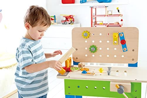 51JCrv3gy8L. AC  - Master Workbench by Hape | Award Winning Kid's Wooden Tool Bench Toy Pretend Play Creative Building Set, Height Adjustable 35Piece Workshop for Toddlers