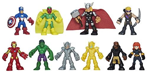 51JGVPXHFNL. AC  - Playskool Heroes Marvel Super Hero Adventures Ultimate Super Hero Set, 10 Collectible 2.5-Inch Action Figures, Toys for Kids Ages 3 and Up (Amazon Exclusive)