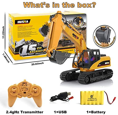 51L7 ejxoiL. AC  - KKNY Remote Control Excavator Toy 1/14 Scale RC Excavator 15 Channel 2.4Ghz Full Functional Construction Vehicles RC Truck with Lights Sounds Xmas Gift for Boys Kids(Upgrade) (1:14-1)