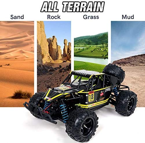 51LJYlts+FL. AC  - WOWRC Remote Control Car 1:18 RC Trucks, 2.4Ghz 4WD Off Road Rock Crawler Vehicle High Speed Racing All Terrains Rechargeable Electric Toy for Boys & Girls Gifts