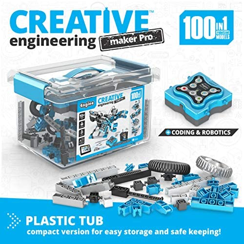 51MTCfiQoLL. AC  - Engino Toys - Creative Engineering Maker Pro Robotized 100 Models Set | Robotics and STEM Activities | for Ages 10+ (CE101MP-A)