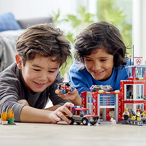 51MeoGWzjeL. AC  - LEGO City Fire Station 60215 Fire Rescue Tower Building Set with Emergency Vehicle Toys Includes Firefighter Minifigures for Creative Play (509 Pieces)
