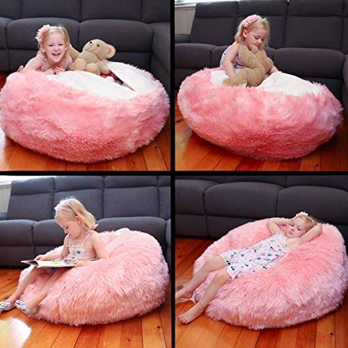51NPSdvxTEL. AC  - Fluffy Stuffs | Super Soft Furry Stuffed Animal Storage Bean Bag Chair Cover for Kids | Premium Plush Fur | Canvas Handle | Make Bedroom Clutter Comfortable and Fun for Children | Machine Washable