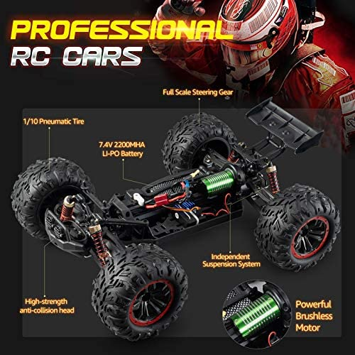 51OHZNeX1ML. AC  - INGQU 1:10 Scale High Speed 60km/h 4WD Off-Road RC Car 2.4Ghz Brushless Remote Control Monster Truck