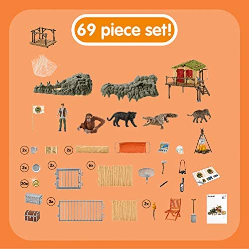 51OthKrfzKL. AC  - Schleich Wild Life Crocodile Jungle Research Station with Jungle Animals 69-piece Playset for Kids Ages 3-8