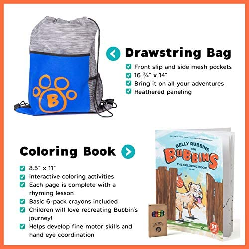 51Q+lTpBATL. AC  - Belly Rubbins for Bubbins Storybook & Plush Toy Set - 2 Children's Picture Books, Coloring Book with Crayons, Pit Bull Plushie, Storage Bag - Stories About Rescue Dog Adoption - Gifts for Kids Ages 3+