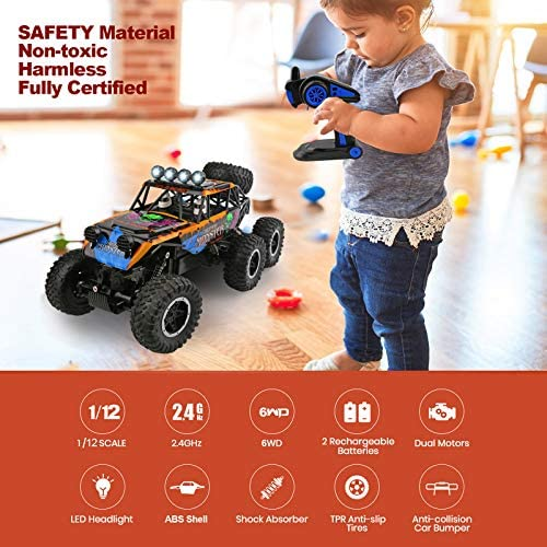 51Q5odc7+0L. AC  - Remote Control Car for Boys - RC Trucks Off Road Car for Kids - Large 1:12 Scale RC Monster Car High Speed 6WD All Terrain Controlled Vehicle Crawler - RC Drift Cars Toys - Gifts for Kids/Boys Girls