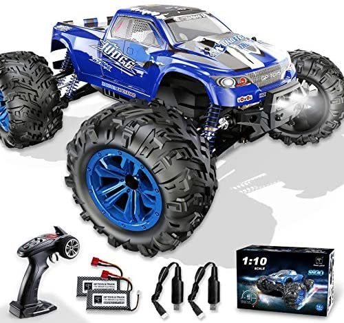 51QII6rpE3L. AC  - Soyee RC Cars 1:10 Scale RTR 46km/h High Speed Remote Control Car All Terrain Hobby Grade 4WD Off-Road Waterproof Monster Truck Electric Toys for Kids and Adults -1600mAh Batteries x2