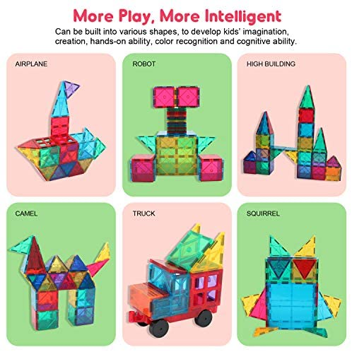 51QSZhYTrCL. AC  - Manve Magnetic Building Blocks Tiles Toy, Magnet Toys 130 Pcs STEM Toddler Learning Toys Kit, Kids Educational Construction Engineering Toys Set