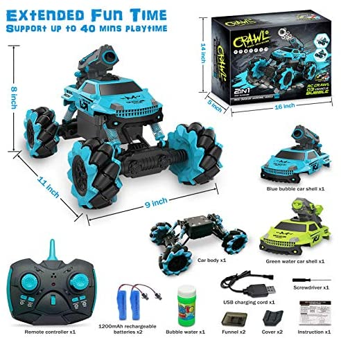 51Qs+lg6U+L. AC  - Remote Control Car for Kids 1:14 Scale 2.4GHz RC Cars 4WD All Terrain Off Road Monster Truck 3 Modes Transformation Radio Crawler, Water Cannon, Bubble Machine, for 4-12 Year Old Boys & Girls