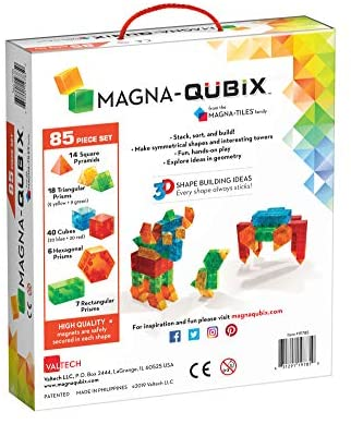 51RheStow5L. AC  - Magna-Qubix 85-Piece Set, The Original Magnetic Building Blocks for Creative Open-Ended Play, Educational Toys for Children Ages 3 Years +