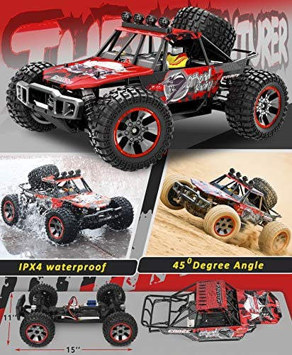 51SM45cCSnL. AC  - RC Cars, 1/10 Scale Large High-Speed Remote Control Car for Adults Kids, 48+ kmh 4WD 2.4GHz Off-Road Monster RC Truck, All Terrain Electric Vehicle Toys Boys Gift with 2 Batteries for 40+ Min Play