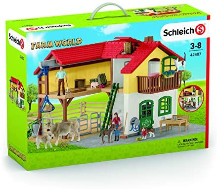 51SbWcaa+xL. AC  - Schleich Farm World Large Toy Barn and Farm Animals 52-piece Playset for Toddlers and Kids Ages 3-8 Multi, 19.3 Inch
