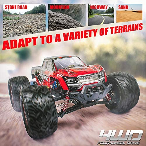 51Sj5SARP1L. AC  - Hosim 1:12 Scale 46+ kmh High Speed RC Cars - Boys Remote Control Cars 4WD 2.4GHz Off Road RC Monster Trucks for Adults Kids.Electric Power Radio Control Cars Gift for Children (Red)