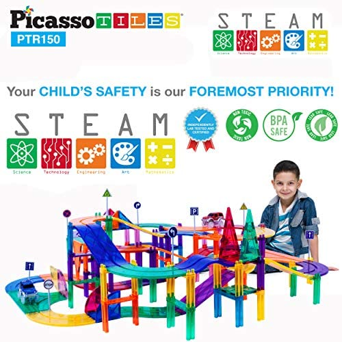 51SsA1d KBL. AC  - PicassoTiles 150 Piece Race Car Track Building Block Educational Toy Set Magnet Tile Magnetic Blocks Playset 4 Cars Early STEM Learning Construction Kit Hand-Eye Fine Motor Skill Brain Training PTR150