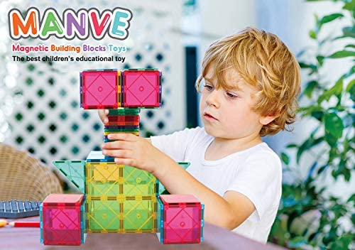 51TOpDWN31L. AC  - Manve Magnetic Building Blocks Tiles Toy, Magnet Toys 130 Pcs STEM Toddler Learning Toys Kit, Kids Educational Construction Engineering Toys Set