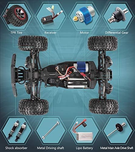 51TQ7K43CfL. AC  - RC Cars, 1/10 Scale Large High-Speed Remote Control Car for Adults Kids, 48+ kmh 4WD 2.4GHz Off-Road Monster RC Truck, All Terrain Electric Vehicle Toys Boys Gift with 2 Batteries for 40+ Min Play