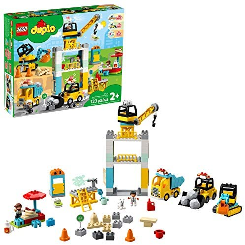 51TYnKeCqhL. AC  - LEGO DUPLO Construction Tower Crane & Construction 10933 Exclusive Creative Building Playset with Toy Vehicles; Build Fine Motor, Social and Emotional Skills; Gift for Toddlers, New 2020 (123 Pieces)
