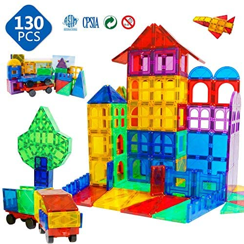 51UDNR3YQ5L. AC  - Magnet Building Tiles 130 Pcs 3D Toys Magnets Magnetic Blocks Set Preschool Toys Gifts for 3 4 5 Years Old Age Boys Girls and Toddlers.