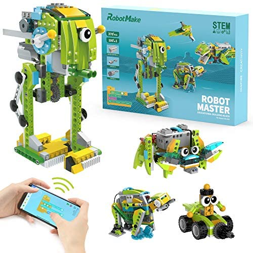 51UN7L6lNHL. AC  - WOOLIKE Robot Kit 100+ in 1 Robot Toys,STEM Educational Coding Science Kits for Kids ,APP Remote Control Building Robot Kit for Boys and Girls Age 6+ Years Old