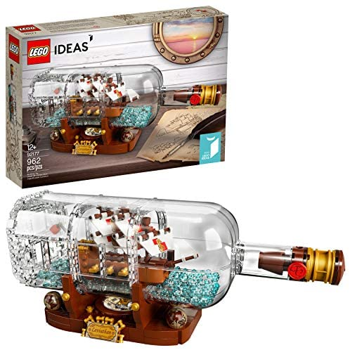 51UnmCEN3nL. AC  - LEGO Ideas Ship in a Bottle 92177 Expert Building Kit, Snap Together Model Ship, Collectible Display Set and Toy for Adults (962 Pieces)