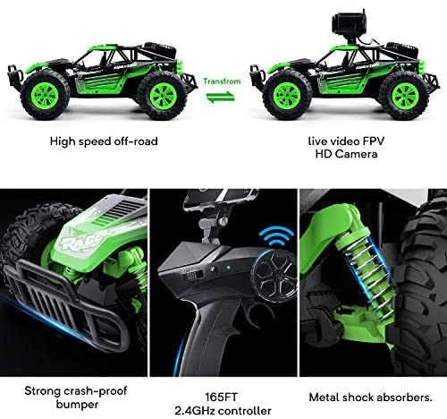 51UuLPPxnwL. AC  - Gizmovine Remote Control Car with Camera, High Speed Racing Off-Road RC Cars with 2 Rechargeable Batteries, Waterproof RC Monster Trucks Buggy Vehicle Electric Toy Cars for All Kids Boy