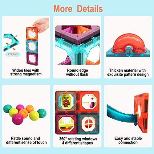 51WWxWZICvL. AC  - MAMABOO Magnetic Tiles Set 174 Piece Pipe Magnetic Building Blocks with Car for Kids 3D Clear Magnets Educational Toys Marble Run STEM Toy for Children Kids Boys Girls Age 3 4 5 6 7 8+ Year Old