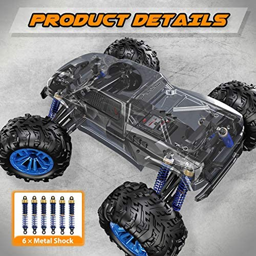 51WbL2EVC4L. AC  - Soyee RC Cars 1:10 Scale RTR 46km/h High Speed Remote Control Car All Terrain Hobby Grade 4WD Off-Road Waterproof Monster Truck Electric Toys for Kids and Adults -1600mAh Batteries x2