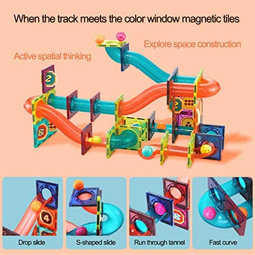 51X0BOflZnL. AC  - MAMABOO Magnetic Tiles Set 174 Piece Pipe Magnetic Building Blocks with Car for Kids 3D Clear Magnets Educational Toys Marble Run STEM Toy for Children Kids Boys Girls Age 3 4 5 6 7 8+ Year Old