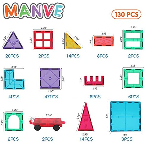 51X0mIGiooL. AC  - Manve Magnetic Building Blocks Tiles Toy, Magnet Toys 130 Pcs STEM Toddler Learning Toys Kit, Kids Educational Construction Engineering Toys Set