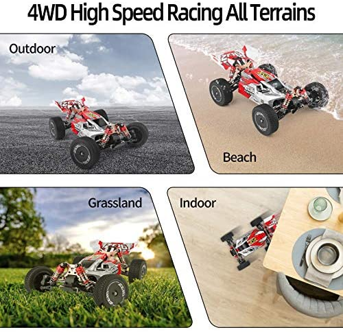 51XYJCglMQL. AC  - Remote Control Car,60+ KMH 1:14 Scale WLtoys 144001 Fast RC Cars for Adults Kids,4WD Off Road Buggy Racing Car with 2 Batteries Gifts for Boys (Red)